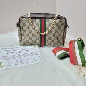 Authentic Gucci vintage web sherry line clutch